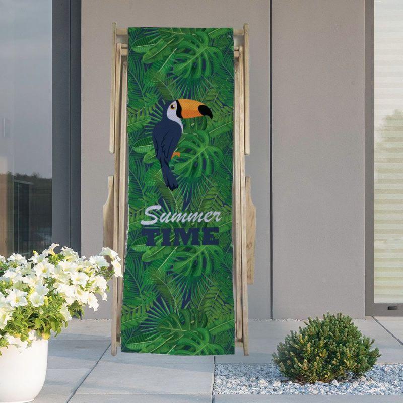 Coupon 45x150 cm tissu imperméable motif toucan et feuille tropicale pour transat