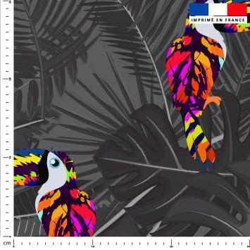 Toucan multicolore et feuille tropicale - Fond gris