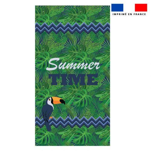 Coupon éponge pour serviette de plage vert simple motif toucan