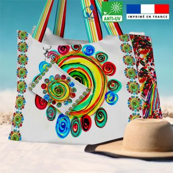 Kit sac de plage imperméable motif cercles multicolores - King size - Création Jeanne Garreau