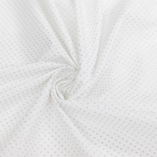 coupon - Coupon 81cm - Coton blanc motif pois argent pisani