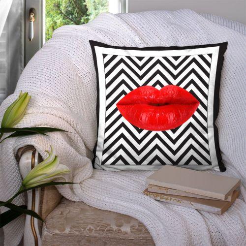 Coupon 45x45 cm motif lèvres rouges et chevron