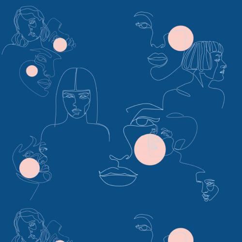 Maille scuba bleue motif visage bleu clair et rose dragée