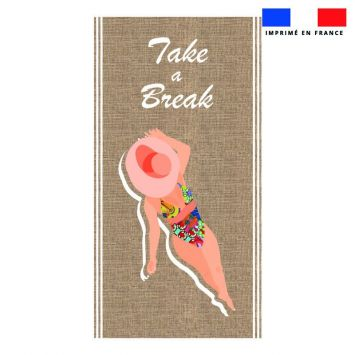 Coupon éponge pour serviette de plage simple motif take a break