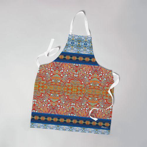 Patron imprimé sur canvas pour tablier motif rayures abstraites bleues et rouges - Création Lita Blanc