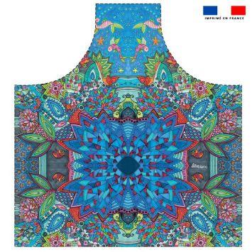 Patron imprimé sur canvas pour tablier motif sous les océans - Création Lita Blanc
