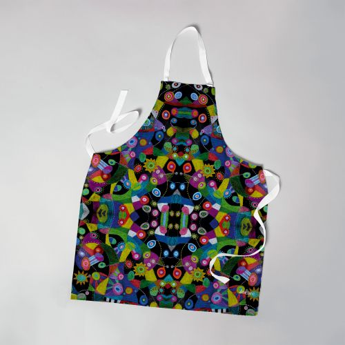 Patron imprimé sur canvas pour tablier motif abstrait multicolore - Création Lita Blanc