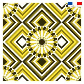 Coupon 45x45 cm motif rosace jaune et noire - Création Lita Blanc