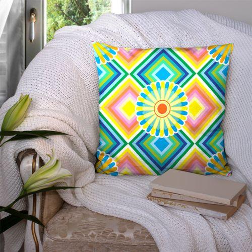 Coupon 45x45 cm motif rosace jaune et bleue - Création Lita Blanc
