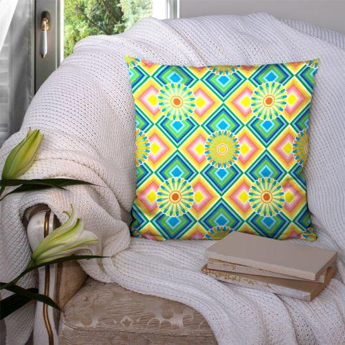 Coupon 45x45 cm motif petites rosaces multicolores - Création Lita Blanc