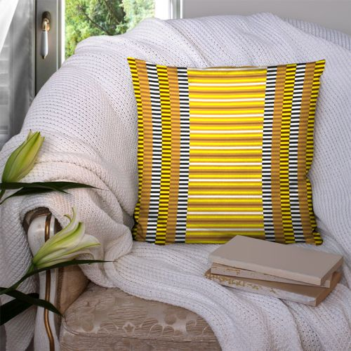 Coupon 45x45 cm motif rayures jaunes - Création Lita Blanc