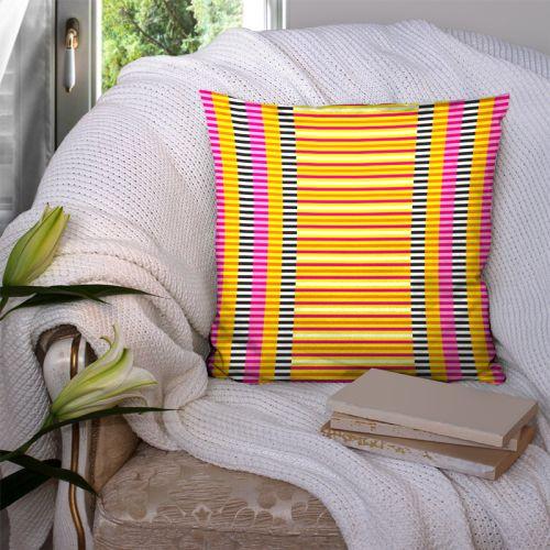 Coupon 45x45 cm motif rayures fuchsia - Création Lita Blanc