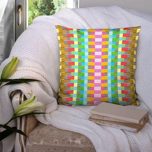 Coupon 45x45 cm motif multicolore effet tissé symétrique - Création Lita Blanc