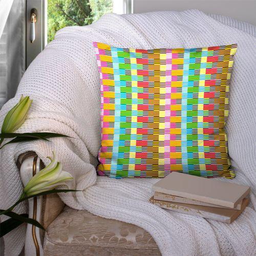 Coupon 45x45 cm motif multicolore effet tissé - Création Lita Blanc
