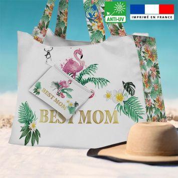 Kit sac de plage imperméable blanc motif maman exotique - Queen size