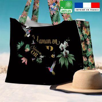 Kit sac de plage imperméable noir motif maman exotique - King size