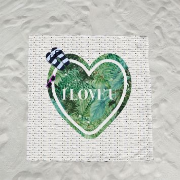 Coupon éponge pour serviette de plage double motif I love u