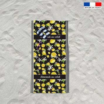 Coupon éponge pour serviette de plage simple noir motif citron
