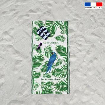 Coupon éponge pour serviette de plage simple blanc motif perroquet et feuille tropicale