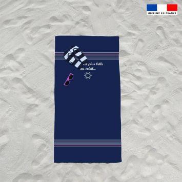 Coupon éponge pour serviette de plage simple bleu motif marinière