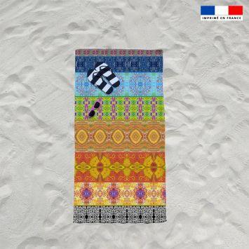 Coupon éponge pour serviette de plage simple motif bandes colorées - Création Lita Blanc