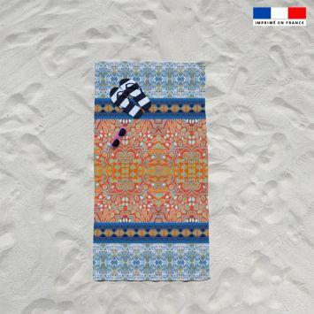 Coupon éponge pour serviette de plage simple motif rayures abstraites bleues et rouges - Création Lita Blanc