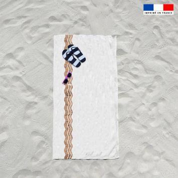 Coupon éponge pour serviette de plage simple blanc motif waves effet texture liège