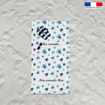 Coupon éponge pour serviette de plage simple blanc motif tortue de mer