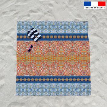 Coupon éponge pour serviette de plage double motif rayures abstraites bleues et rouges - Création Lita Blanc
