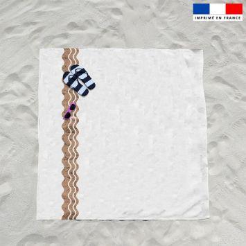 Coupon éponge pour serviette de plage double blanc motif waves effet texture liège