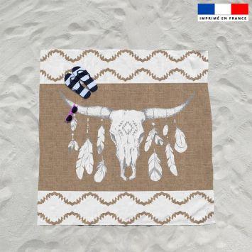 Coupon éponge pour serviette de plage double motif tête de buffle effet jute