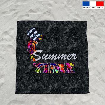 Coupon éponge pour serviette de plage double noir motif toucan et feuille tropicale