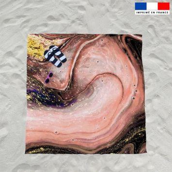 Coupon éponge pour serviette de plage double motif magma rose et poudre d'or