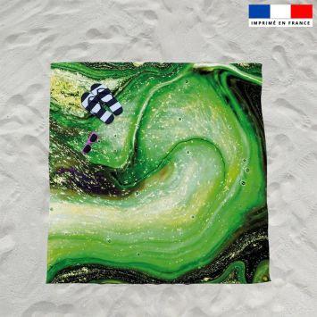 Coupon éponge pour serviette de plage double motif magma vert et poudre d'or