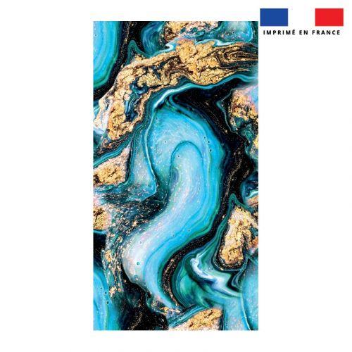 Coupon éponge pour serviette de plage simple motif magma bleu et poudre d'or