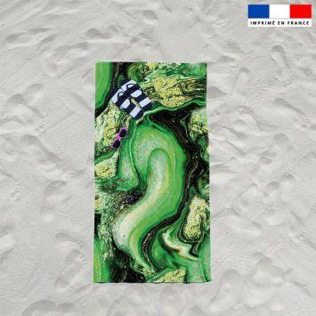 Coupon éponge pour serviette de plage simple motif magma vert et poudre d'or