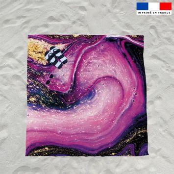 Coupon éponge pour serviette de plage double motif magma violet et poudre d'or