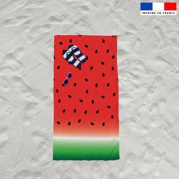 Coupon éponge pour serviette de plage simple motif pastèque