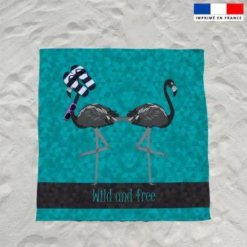 Coupon éponge pour serviette de plage double bleu motif flamant wild and free