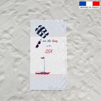 Coupon éponge pour serviette de plage simple motif bateau