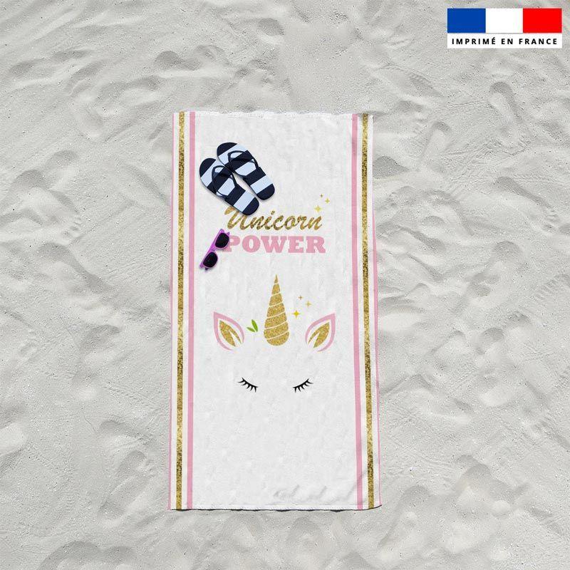 Coupon éponge pour serviette de plage simple blanc motif licorne gold