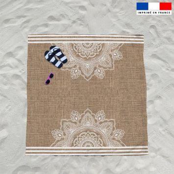 Coupon éponge pour serviette de plage double motif mandala effet jute