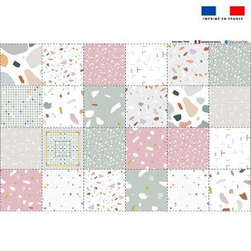 Coupon éponge pour lingettes démaquillantes motif tiles - Création Anne Clmt