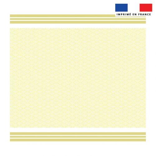 Coupon éponge pour serviette de plage double jaune motif fouta japonaise