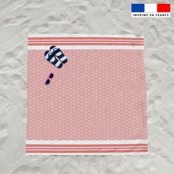 Coupon éponge pour serviette de plage double rouge motif fouta japonaise