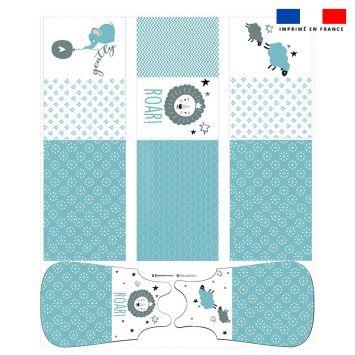 Coupon velours d'habillement motif baby bleu et gris - Gigoteuse et Tour de Lit