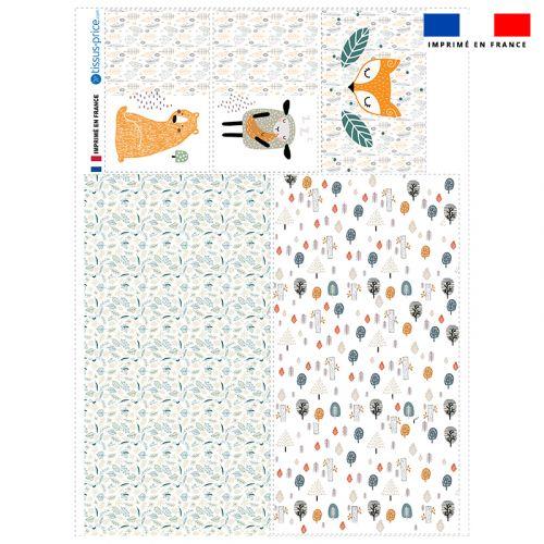 Coupon velours d'habillement pour vide-poches motif animaux de la forêt