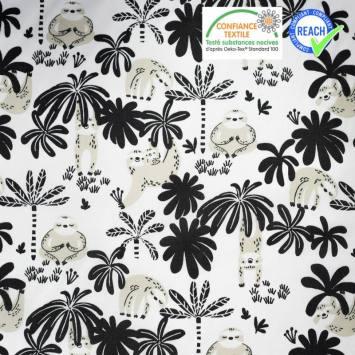 coupon - Coupon 35cm - Coton blanc motif paresseux grège macachou