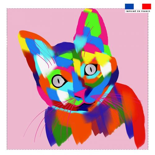 Coupon 45x45 cm motif chat multicolore - Création Lily Tissot