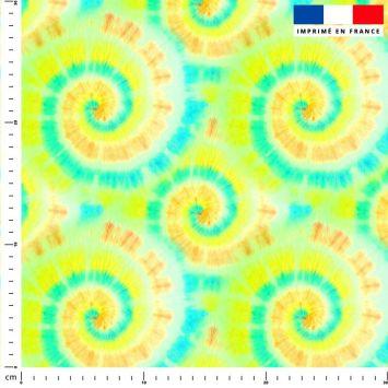 Tie and dye effet tourbillon - Fond vert fluo